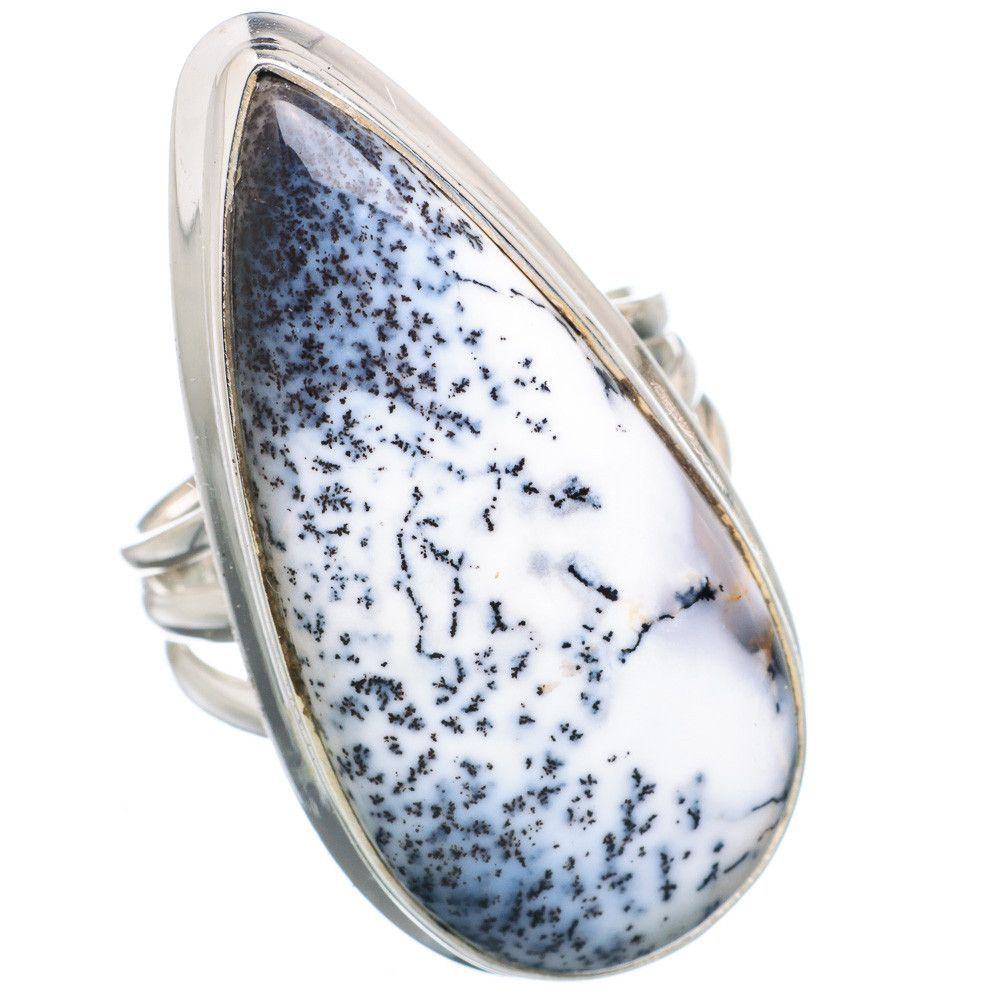 Large dendritic opal sterling silver ring size ring