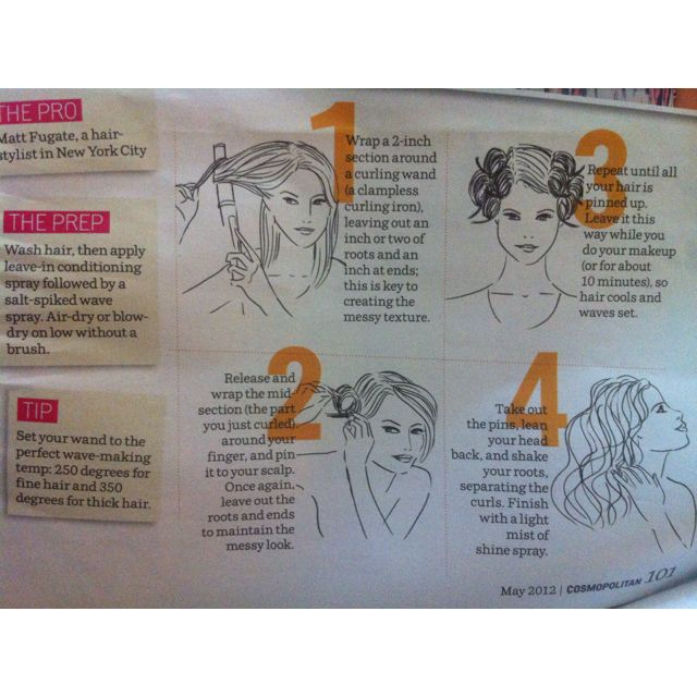 Create messy waves - from Cosmo Magazine, May 2012
