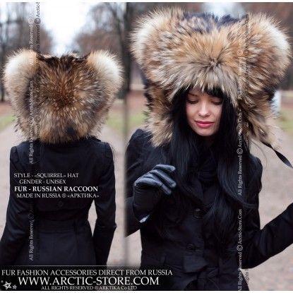 Squirrel Fur Hat Russian Raccoon Hood Fur Accessories Winter Hats Fur Hat