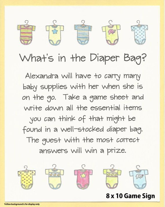 What S In The Diaper Bag Baby Shower Stock Showe
