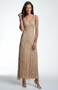 Women's Pisarro Nights V-Neck Beaded Sequin Gown, Size 12 - Pink ...