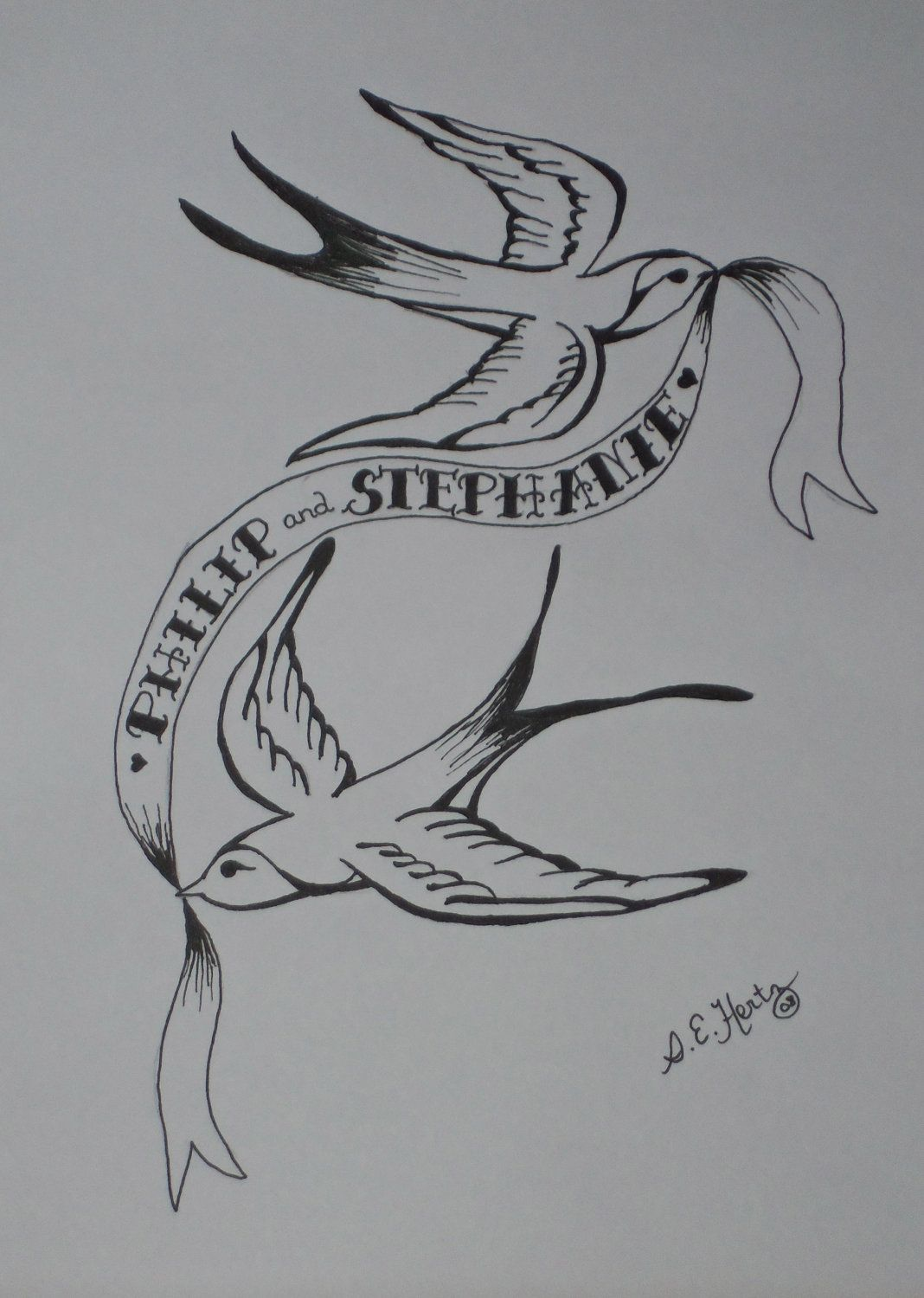 Tattoo Swallow Couple with Custom Names on Scroll Drawing 9x12 - Soul Mates. $30.00, via Etsy.