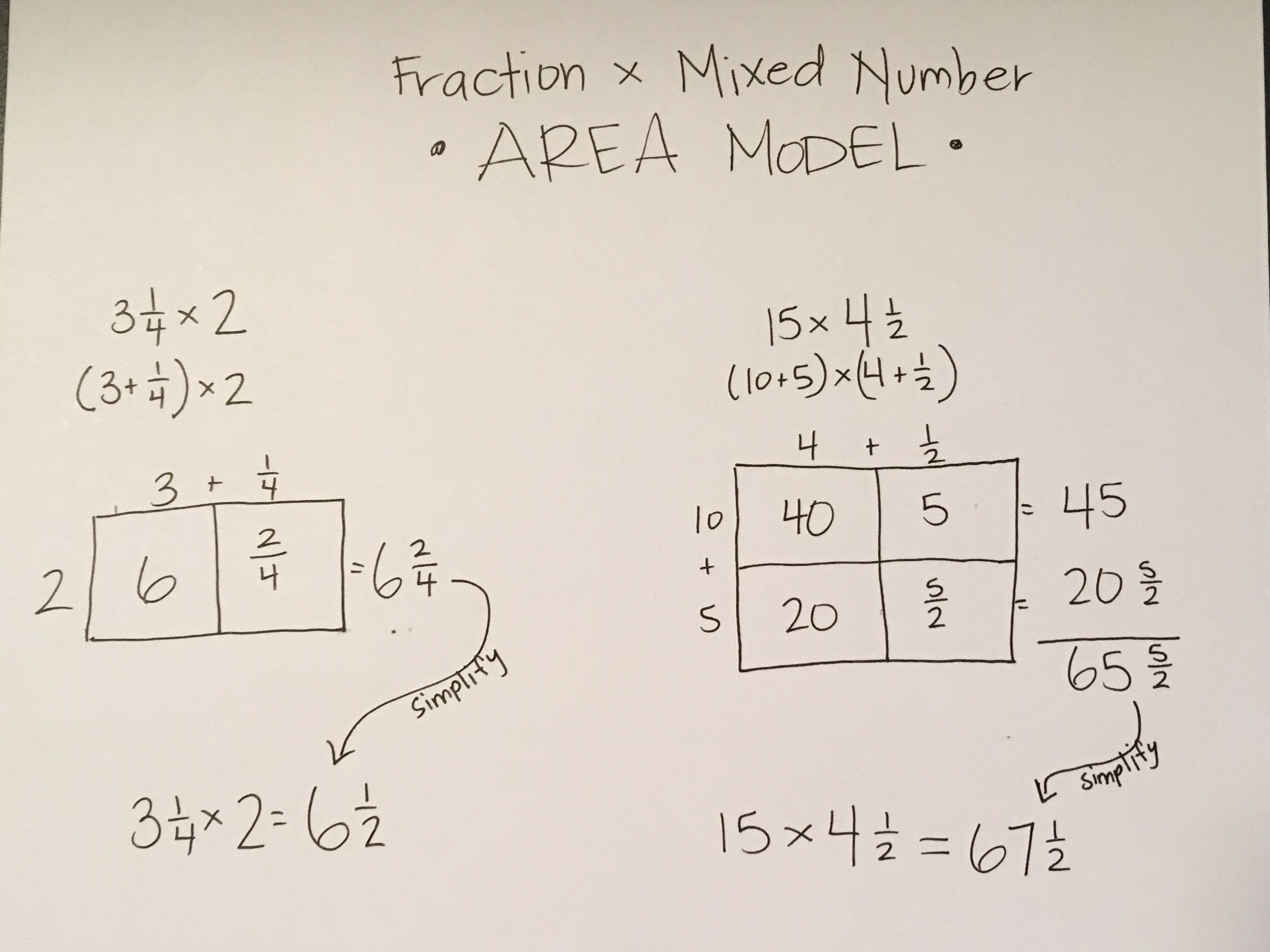 Area Models For Mixed Numbers X Whole Numbers