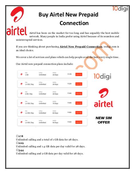 Buy #AirtelNewPrepaidConnection with 10digi com  Contact us