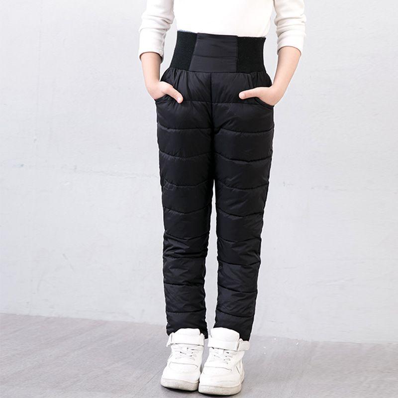 Los Niños De Invierno Pantalones De La Muchacha De La Alta Cintura Polainas Calientes Chicos Espesar Abajo Pantalon Trousers For Girls Warm Pants Warm Leggings