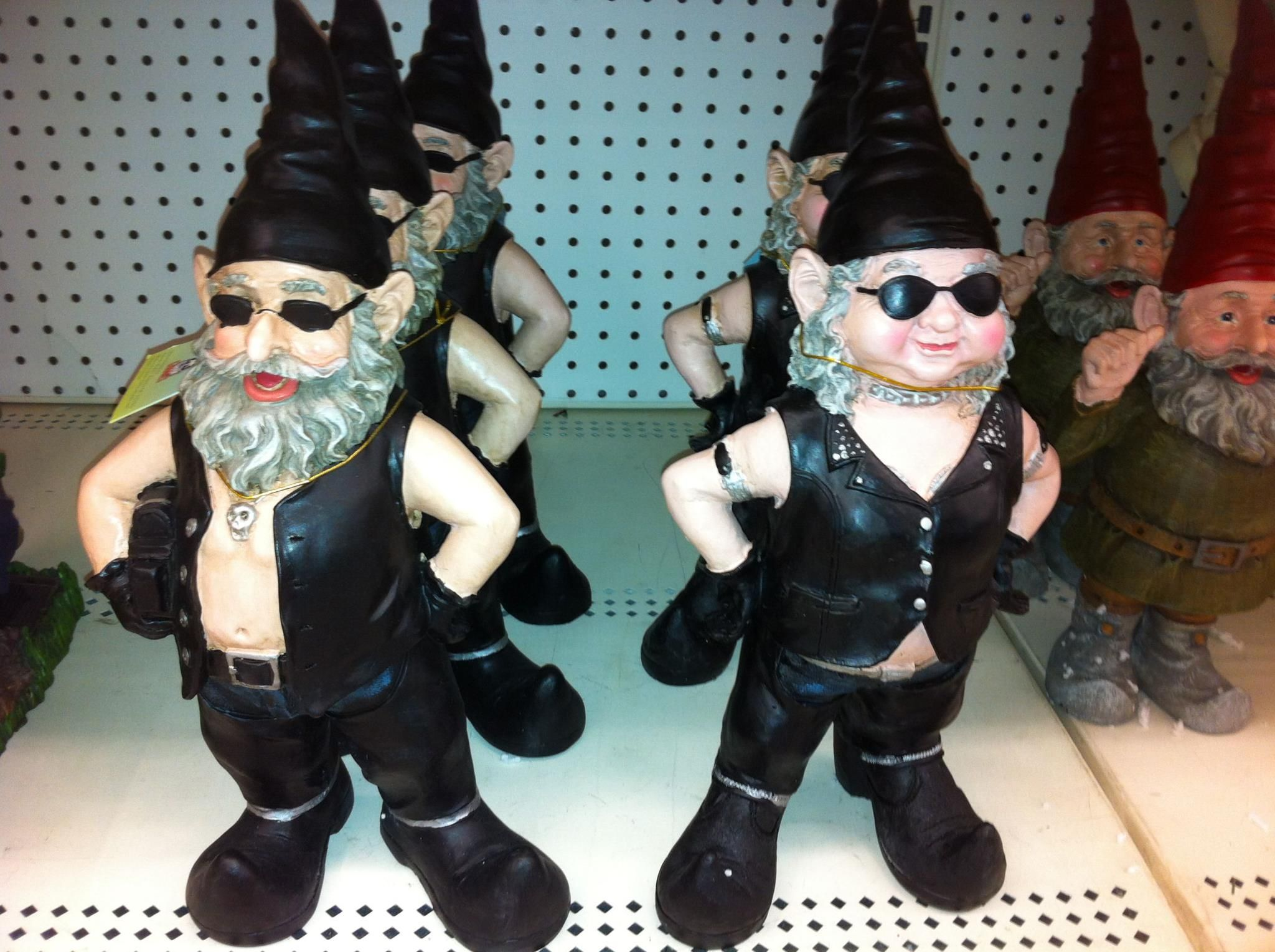 Biker Garden Gnomes At Kmart. Hilarious!