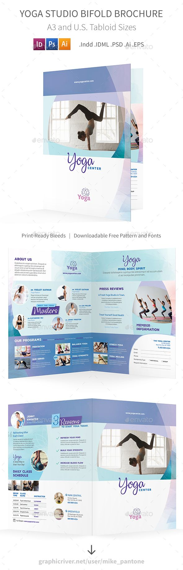 yoga studio bifold halffold brochure template psd vector eps indesign indd ai illustrator