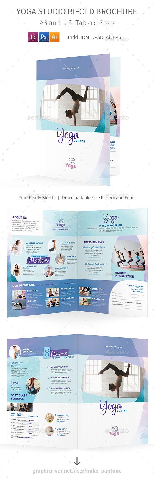 Yoga Studio Bifold  Halffold Brochure   Brochures Brochure