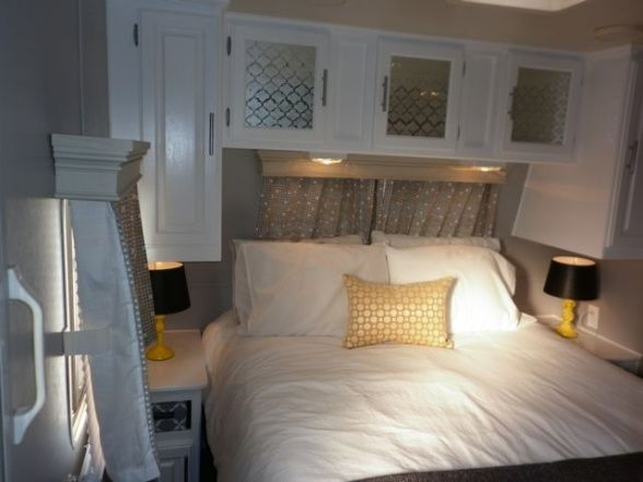 Camper Travel Trailer RV Remodel   Bedroom after  Other Spaces Desi. Camper Travel Trailer RV Remodel  2    Other Space Designs