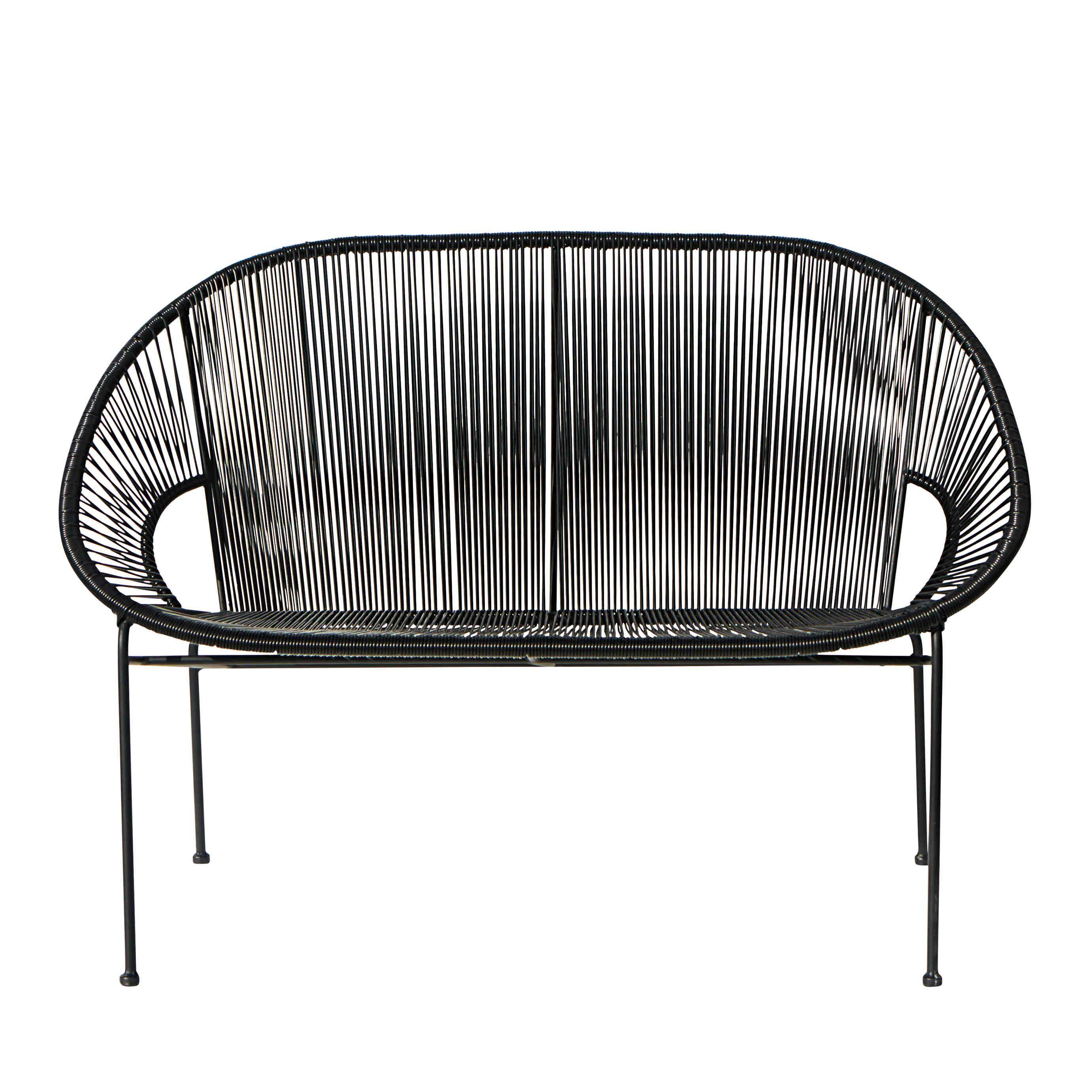 Stapelbare Gartenbank 2/3-Sitzer aus Kunstharz-Gewebe und schwarzem ...
