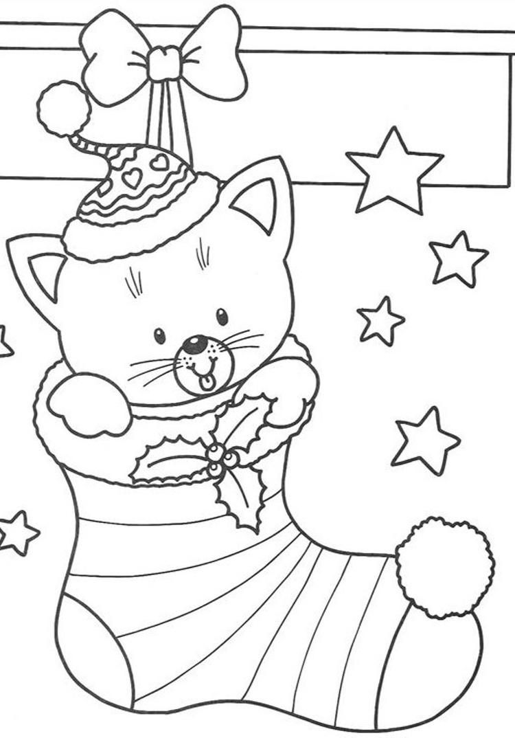 Free Coloring Pages Christmas Cat In Stocking Christmas Present