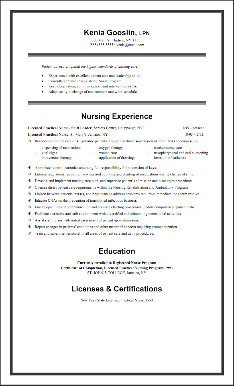 sample lpn resume one page