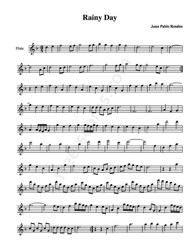 Free sheet music : Rosales, Juan Paulo - Rainy Day (Flute and Piano