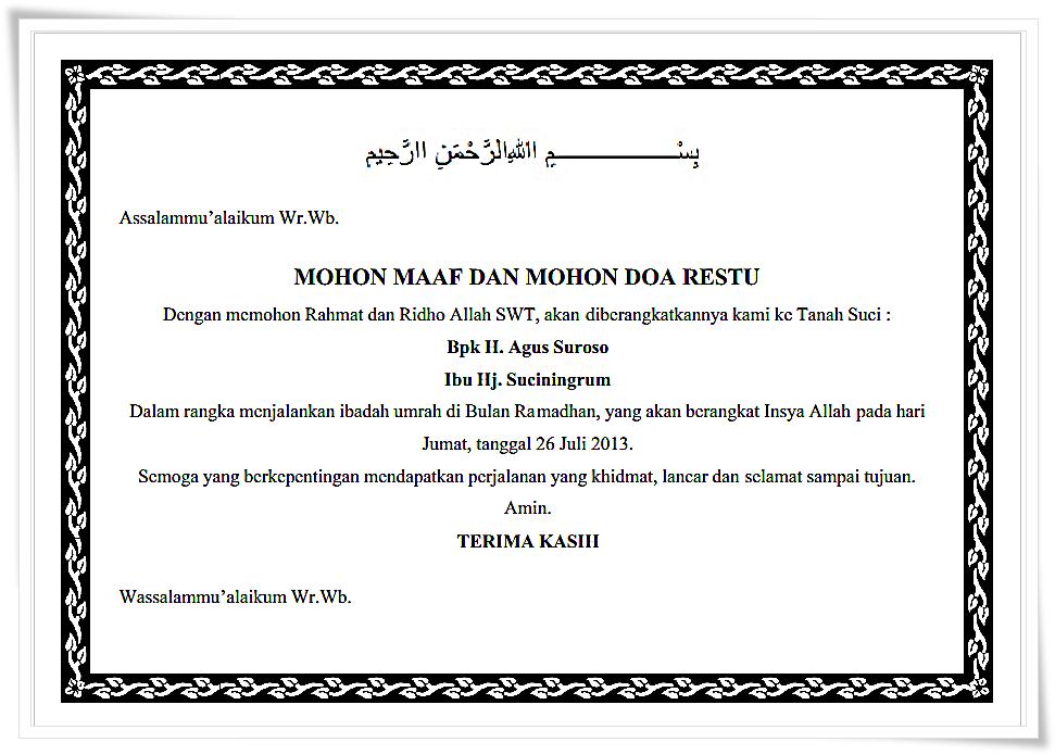 Kumpulan Ucapan Mohon Maaf Doa Restu Untuk Pamitan Berangkat Umroh