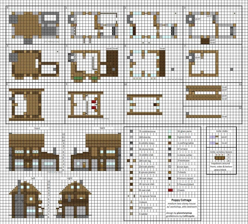 Poppy Cottage Medium Minecraft House Blueprints by planetarymap on DeviantArt