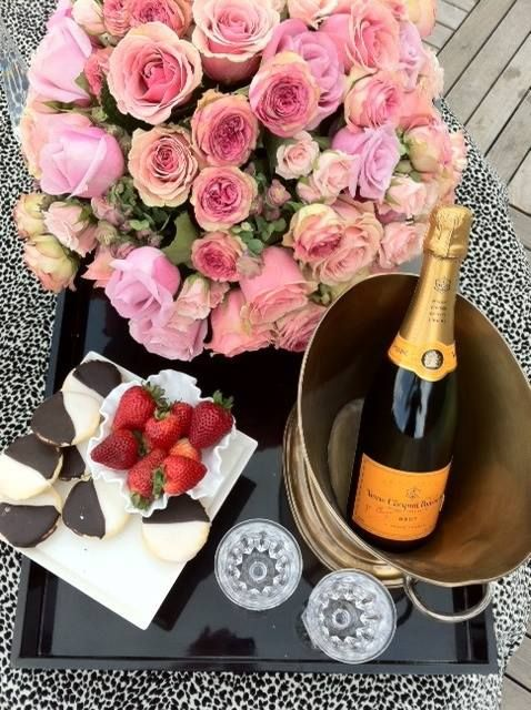 These Are A Few Of My Favorite Things Pink Roses Champagne Black And White Cookies Strawberries Dessert