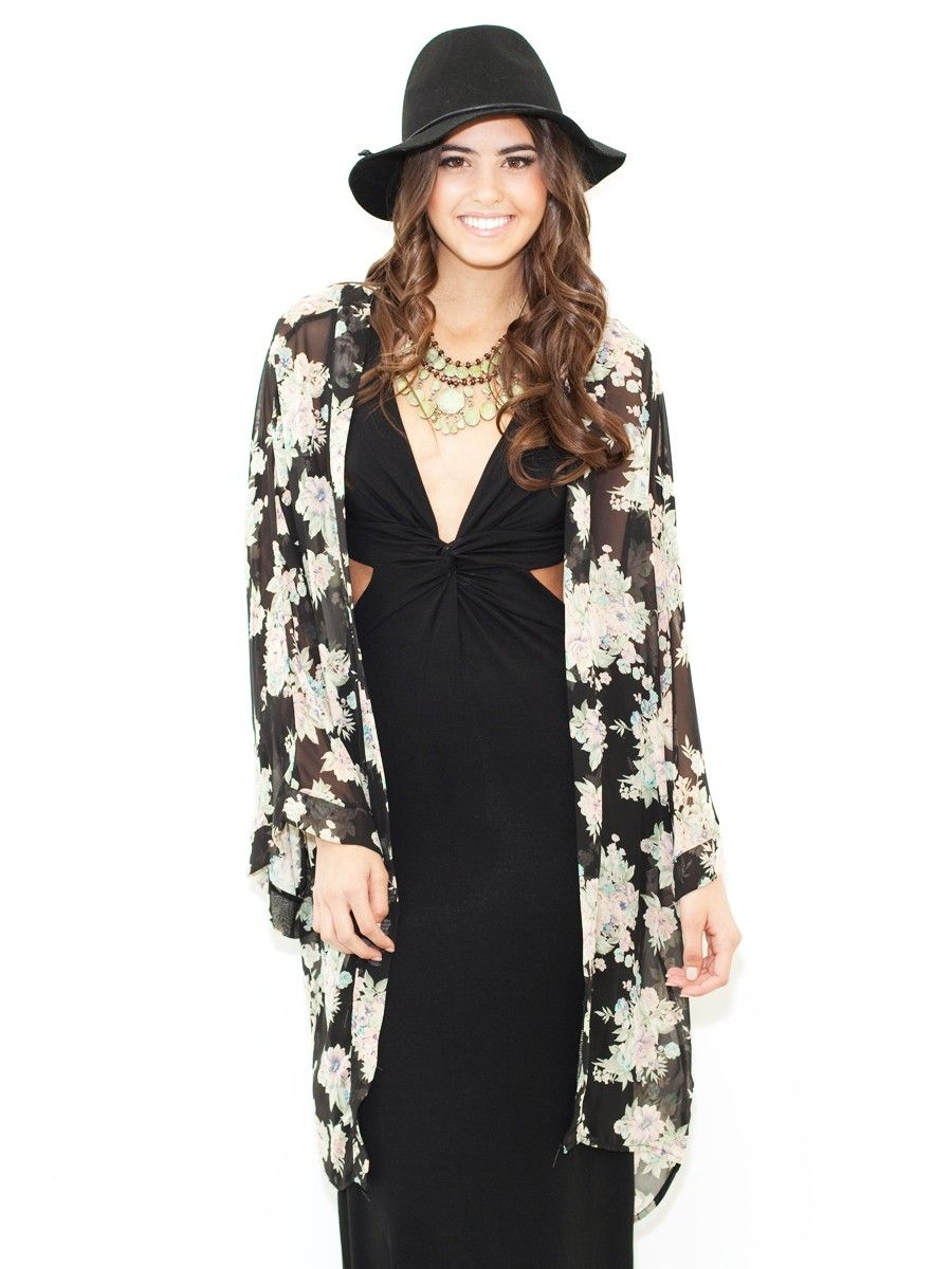 West Coast Wardrobe Floral Kimono Cardigan In Black | What's New ...