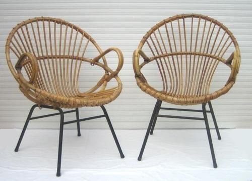 Paire fauteuils rotin vintage ann es 50 rotin pinterest fauteuil fauteuil rotin et rotin - Idees decors du milieu du siecle salon ...