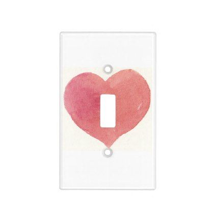 sunset soft rose pink watercolor heart custom light switch cover
