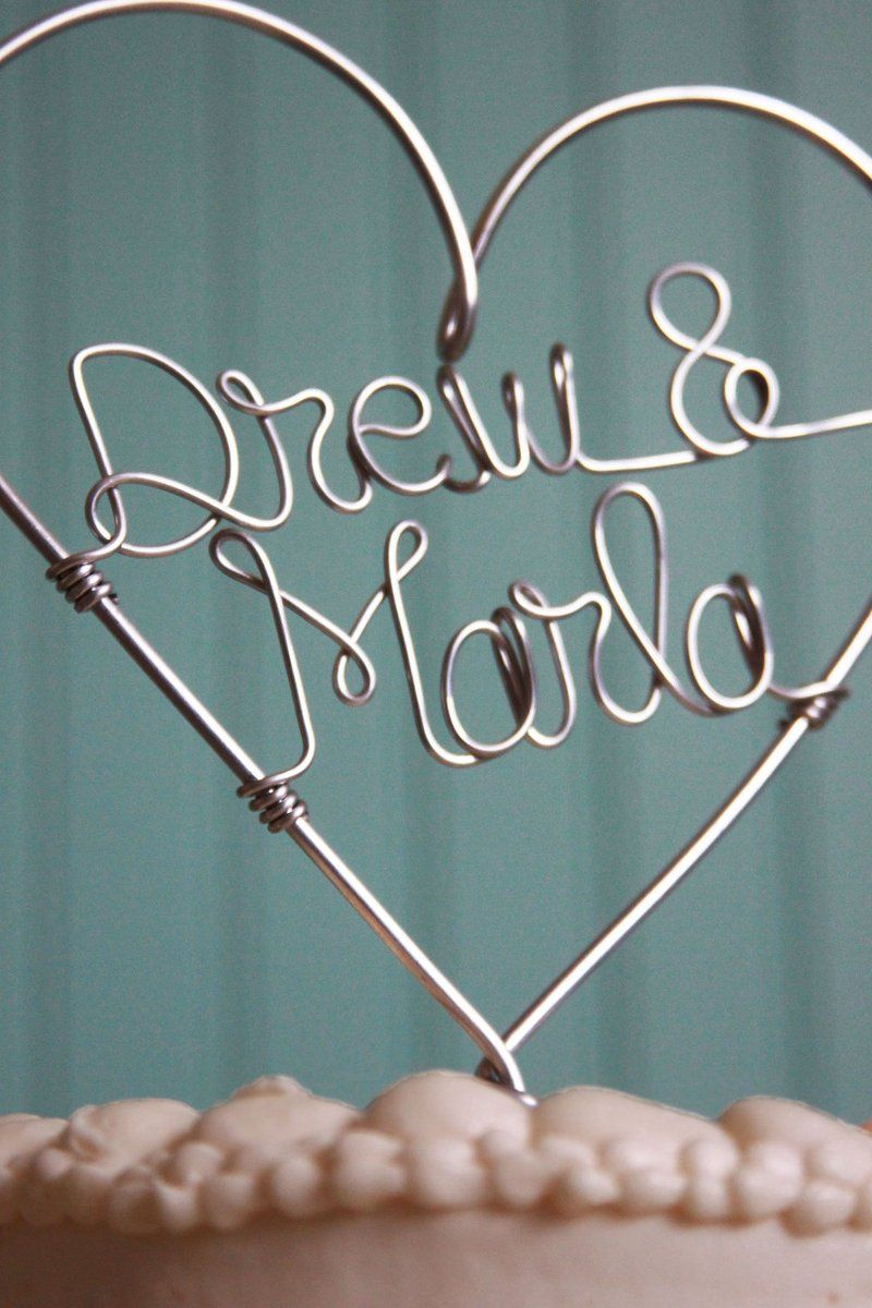 Wedding cake topper custom wire heart featuring bride and groom