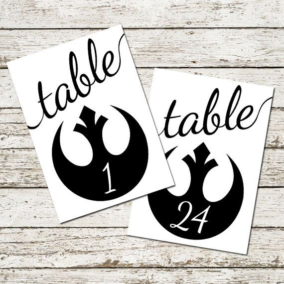 star wars wedding table numbers printable sci fi decorations