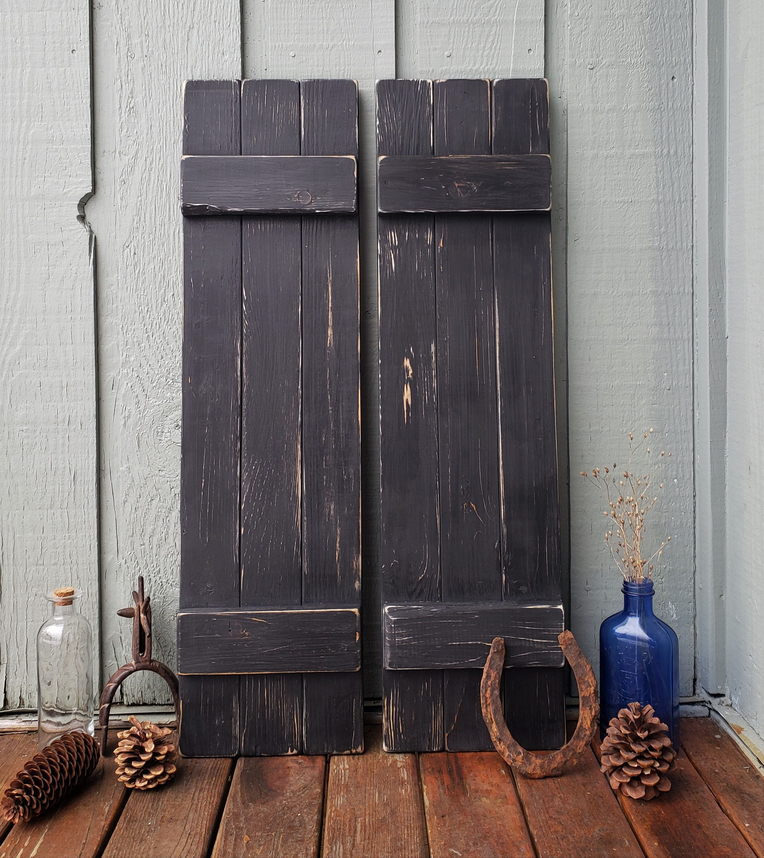 Distressed Black Painted Wood Shutters Rustic Wood Shutters Interior Wall Decor Farmhouse Decor Reclaimed Wood Board And Batten Wood Shutters Painting Shutters Homestead Decor