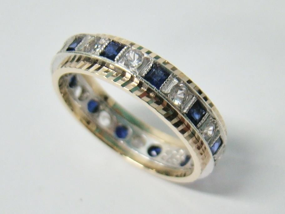 Vintage European 9k Yellow Gold Synthetic Blue Sapphire Eternity Ring Size 7 75 Eternity Ring Sapphire Eternity Ring Royal Engagement Rings
