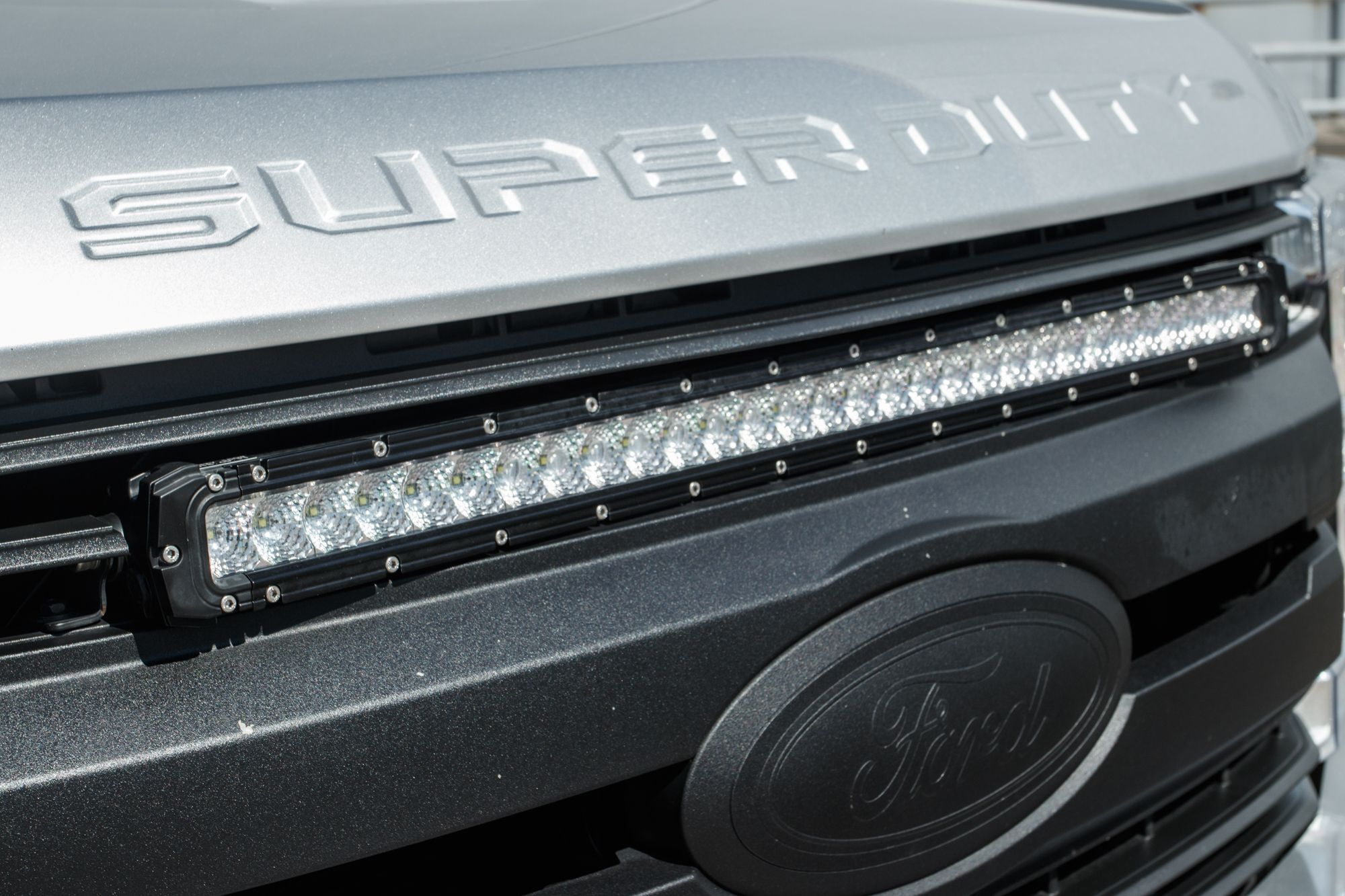 2018 Super Duty F250 Ford Custom Led Light Bar In Front Grill And Kevlar Coating F250 Light Bar Truck Lifted Truck