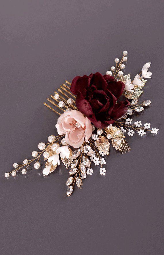 Peigne fleur de fard à joues Bordeaux Bourgogne mariage fleur marron peigne peigne à cheveux fleurs Bordeaux Bordeaux coiffure peigne à cheveux de mariée Marsala #bridalhair