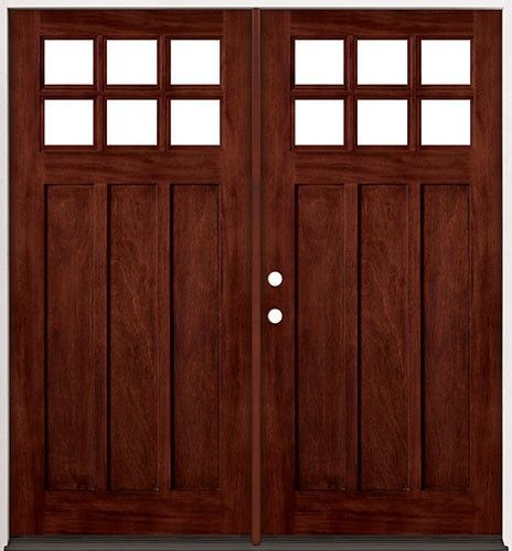 6 Lite Craftsman Mahogany Wood Entry 43 Double Doors Front Entry