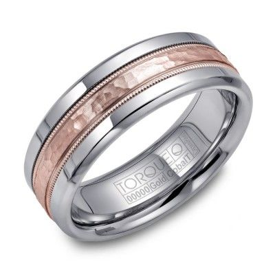 Modern And Unique Mens Band 14kt Rose Gold White Cobalt Hammered Wedding Only At Day Diamonds
