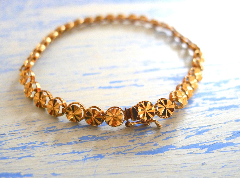 Vintage 14k Gold Bracelet Beverly Hills Gold Solid Gold Tennis
