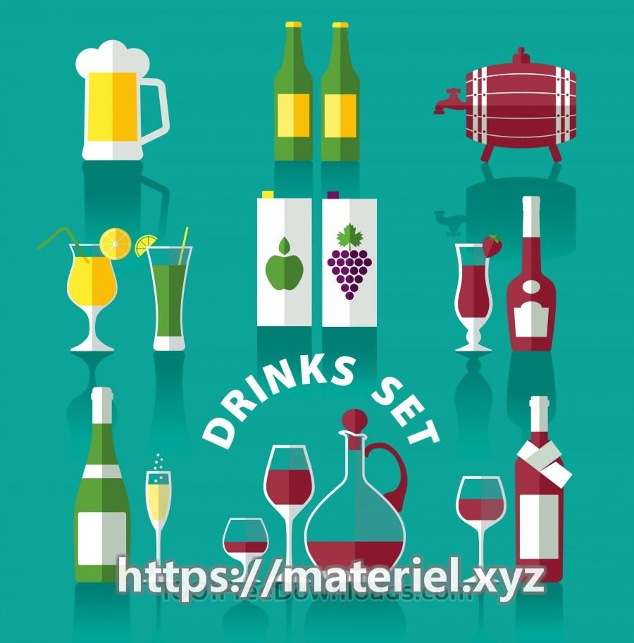 Drink icons of flat style Drink icons of flat style, Free Vector by psdfree. License: Free for pers