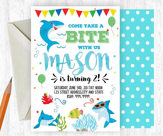 Shark birthday invitation shark invitation shark invite birthday invitation can be changed to baby shower or any age birthday thank you for viewing my stopboris