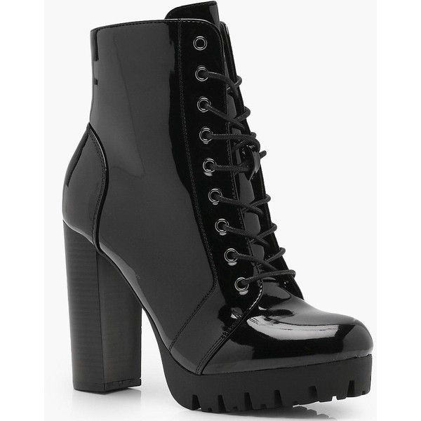 8e6b900d090 Boohoo Emma Cleated Patent Lace Up Hiker Boot ( 44) ❤ liked on Polyvore  featuring shoes