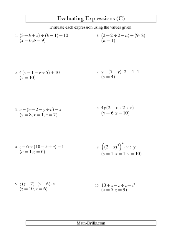 Algebra worksheet evaluating five step algebraic expressions with algebra worksheet evaluating five step algebraic expressions with three variables c ibookread Download