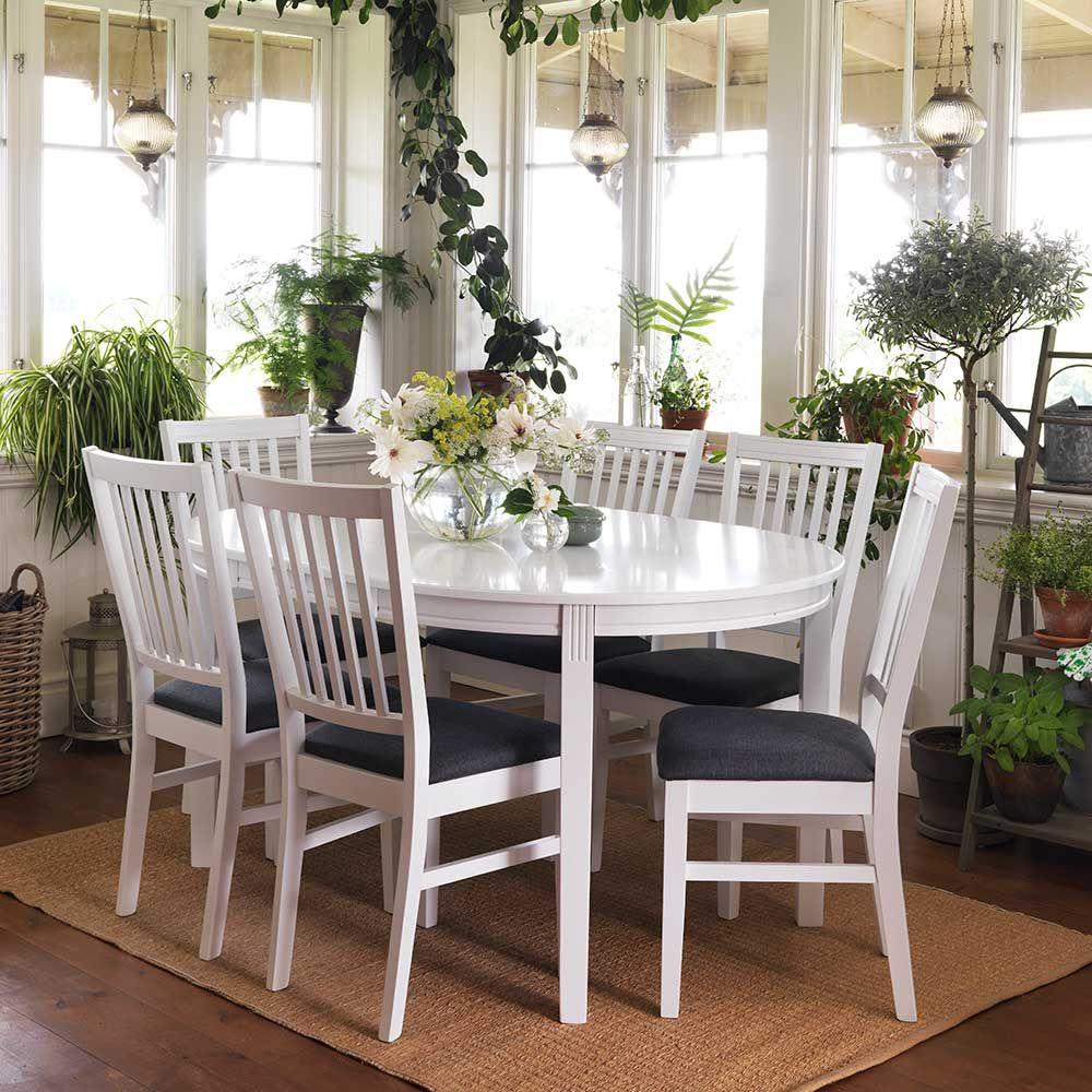 Esstisch mit Stühlen im skandinavischen Design Weiß Grau (7-teilig ...