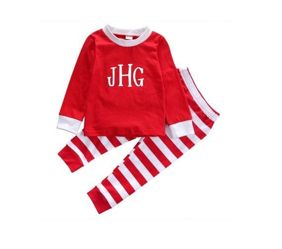 bed8937060 Custom Monogram Christmas Pajama Set Personalized For Toddler