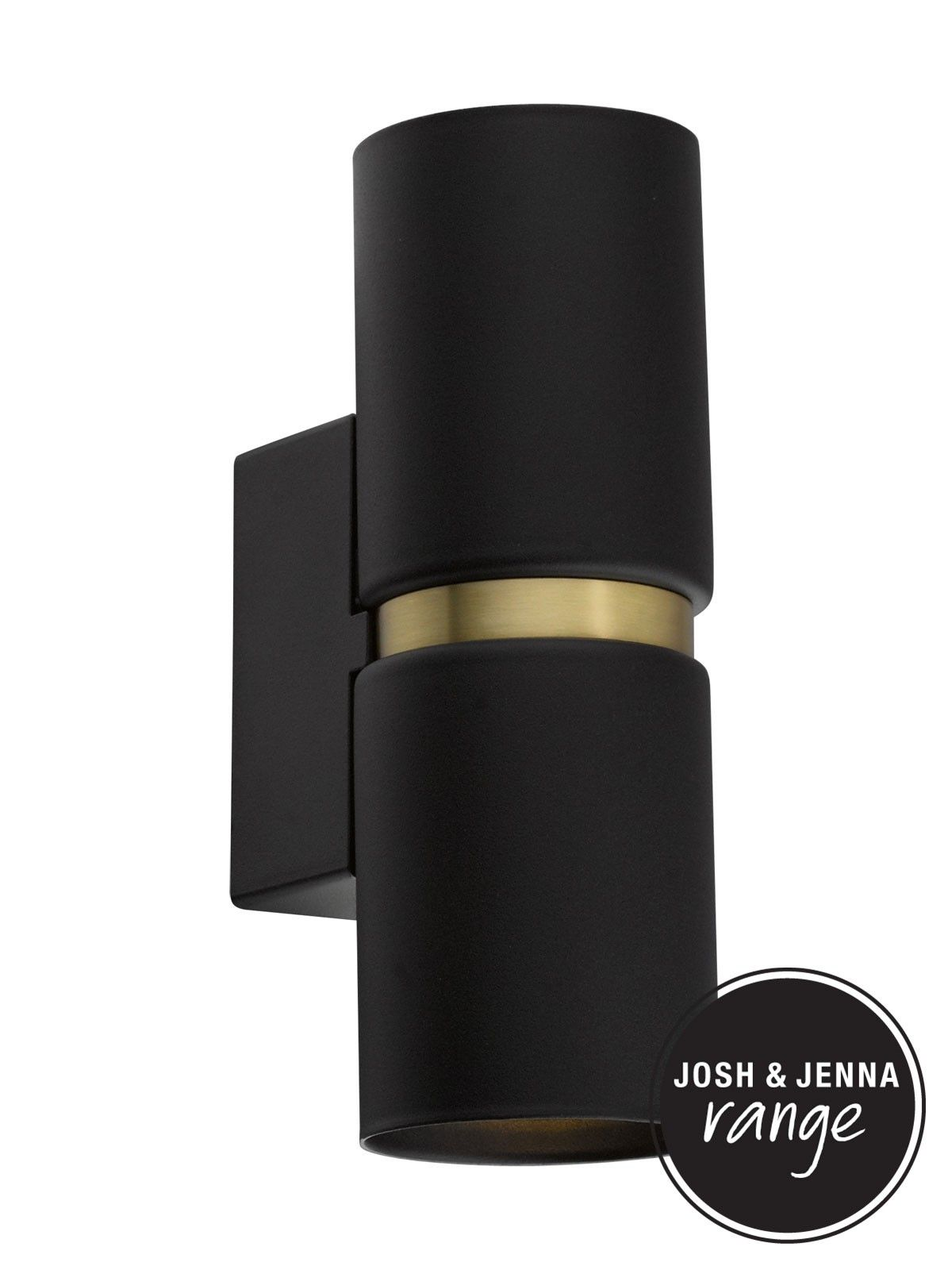 Baristo 2 Light Up Down Round Wall Bracket In Black Brass