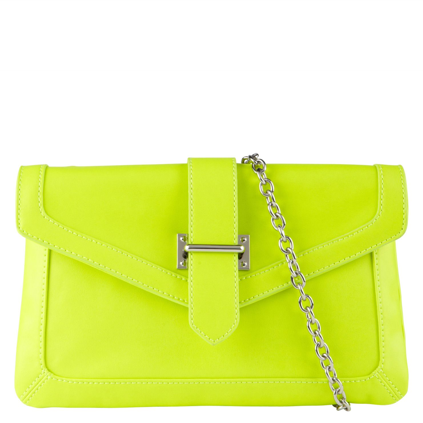 Aldo: Hord in Peach Yellow.  I'm loving the acid green clutch with crisp sleek lines balanced with a chain strap.