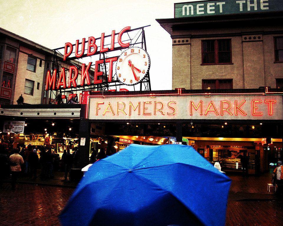 Travel Photography, 8 x 10, Fine Art Print, Seattle, Pikes Market, Farmers Market, Travel, Autumn, Fall. $35.00, via Etsy.