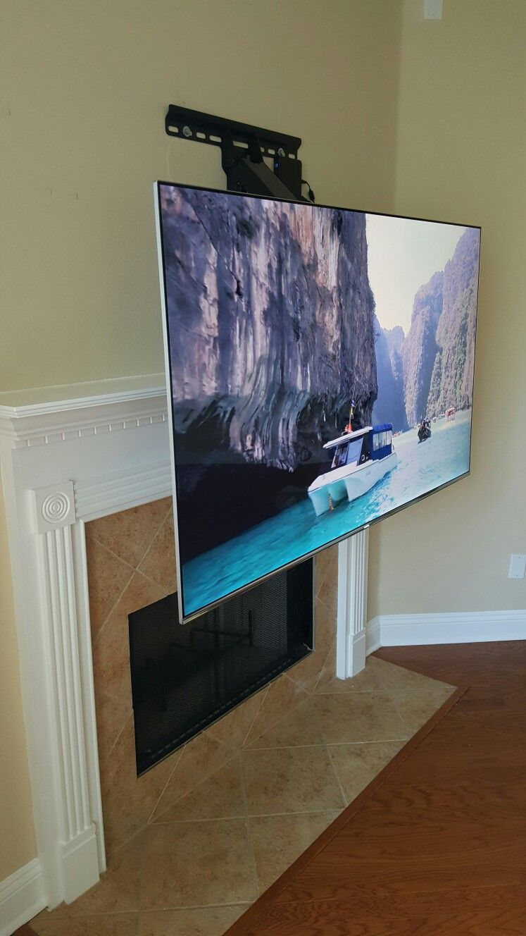 Dynamic mount for tv allows you to move the tv down over - Tv wall mount above fireplace ...