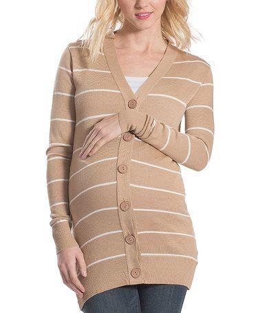 Look what I found on #zulily! Tan & Ivory Stripe Maternity Cardigan #zulilyfinds