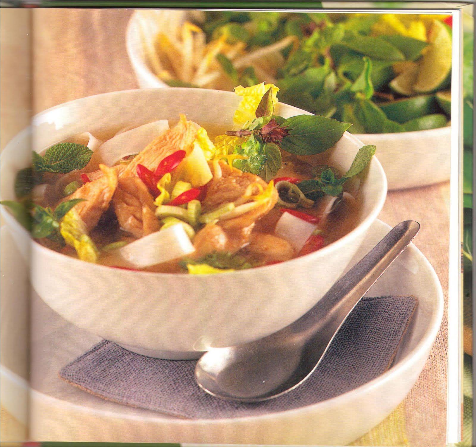 Vietnamesisk pho ca, kylling og nudelsuppe
