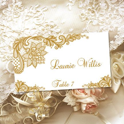 printable place cards vintage lace gold word doc tent escort card