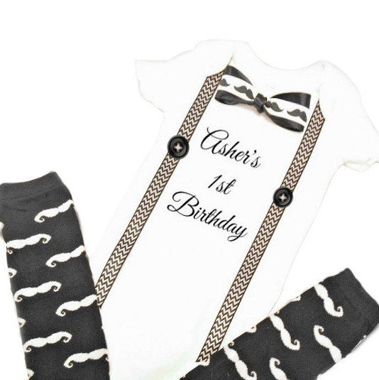 First Baby Boy Birthday Outfit, Newborn Birthday Outfit, Boys 1st Birthday, First Birthday Boy, Mustache Leg Warmers