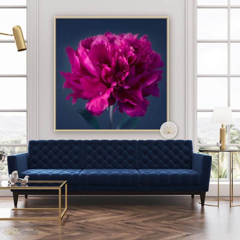 Jewel Tone Peony Print Peony Wall Art Flower Decor Etsy Jewel Tone Decor Decor Pink Peonies Print