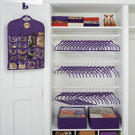 Joy 100 Piece Huggable Hangers Closet And Storage Makeover Set
