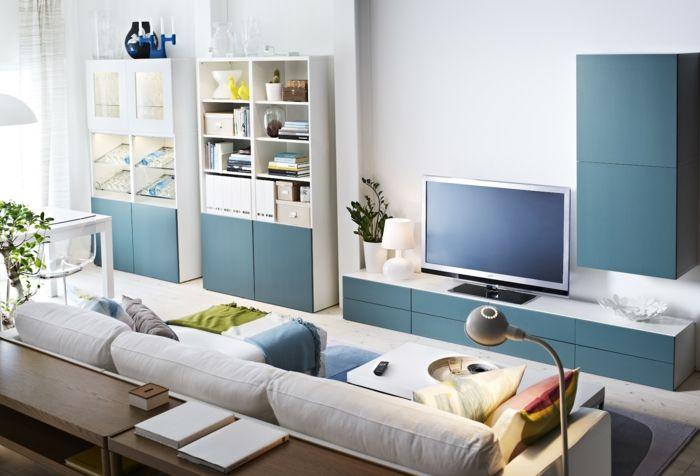 wandschrank für wohnzimmer - blau und weiß kombinieren colours - wohnzimmer ideen blau