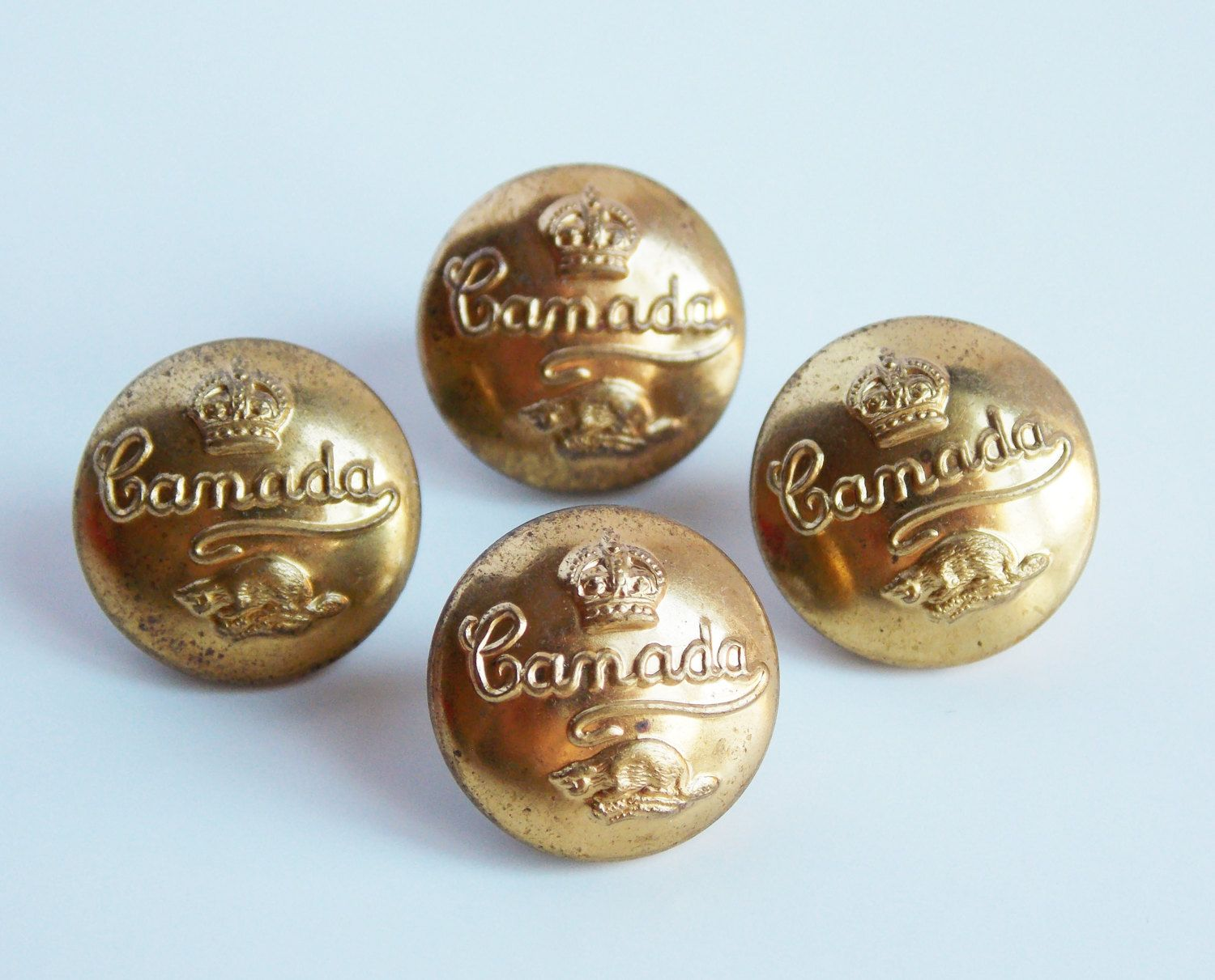 4 Vintage brass buttons, Canada military, crown and beaver